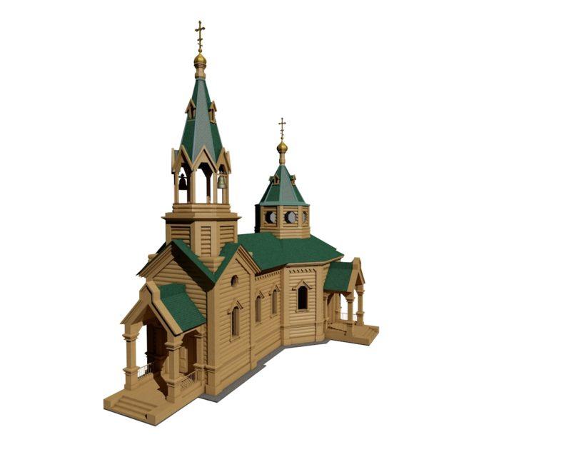 Модель храма с. Огнева Заимка ( модель сделала студентка Моисеенкова)