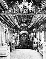 Убранство Вагона-Церкви. В 1896 году впервые в России по распоряжению государя императора Николая II на Путиловском заводе изготовили специальный железнодорожный вагон, в котором была устроена церковь.