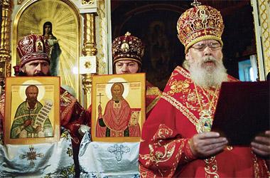 Святейший Патриарх Московский и всея Руси Алексий II совершает торжественное прославление для общецерковного почитания в лике святых священномучеников Новосибирских протоиерея Николая Ермолова и священника Иннокентия Кикина.