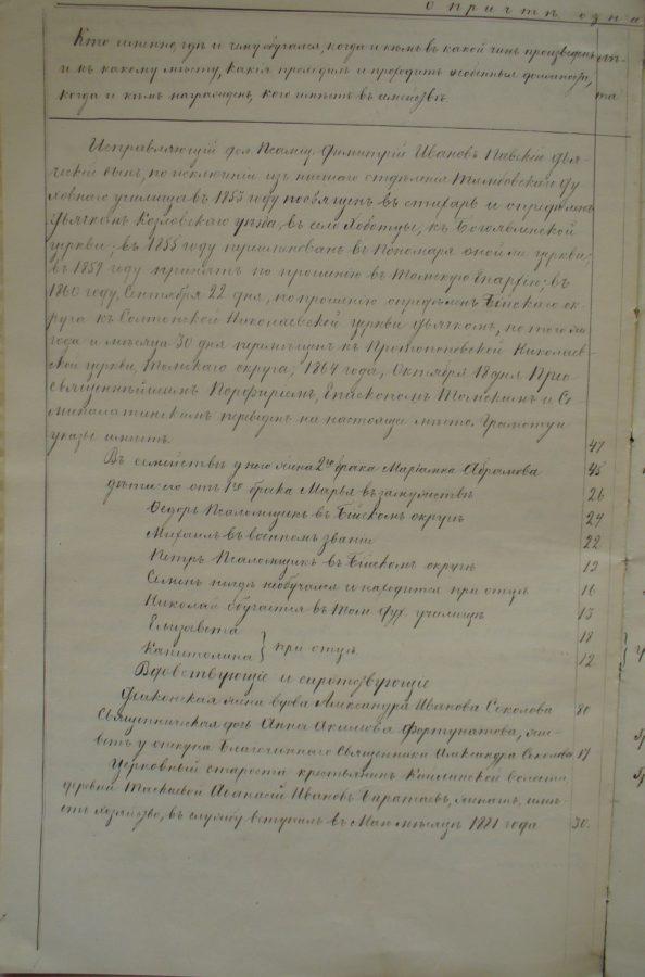 Болотное, 1883 года, Ведомость церкви, Томская епархия, XIX век, Архивный документ