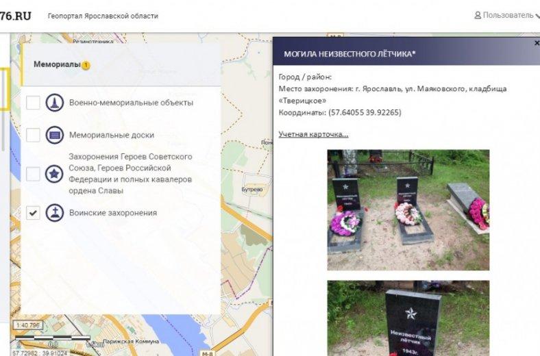 воинские захоронения, мемориальные объекты, Ярославль, карты, интернет