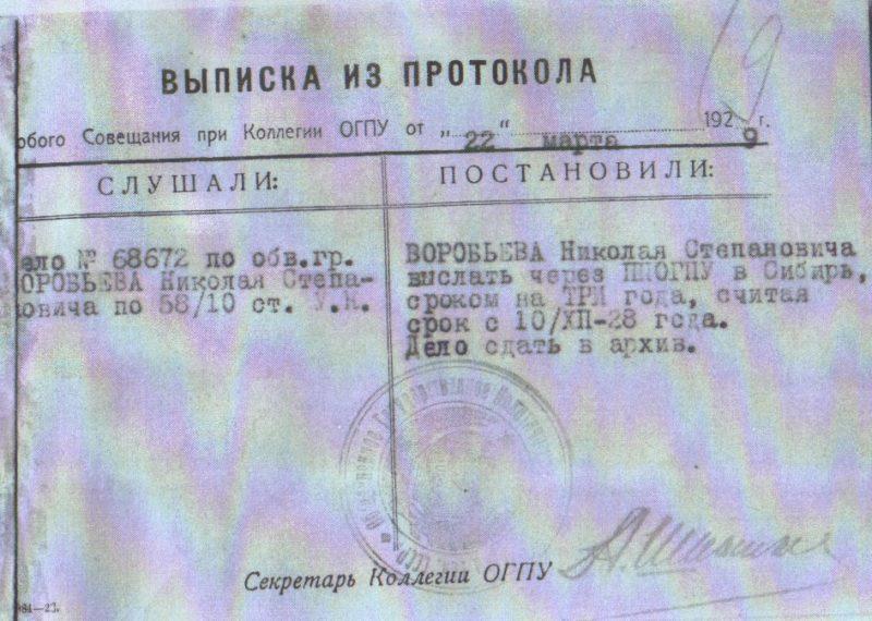 Черепаново, Архивный документ, 1928 год, священник Николай Воробьёв