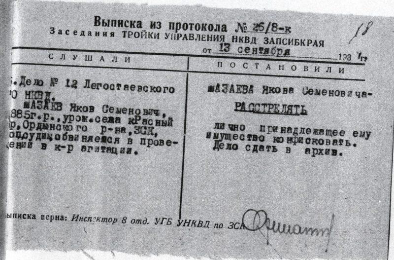 Архивные документы, 1937 год, Яков Мазаев, Растрельный документ, Тройка НКВД